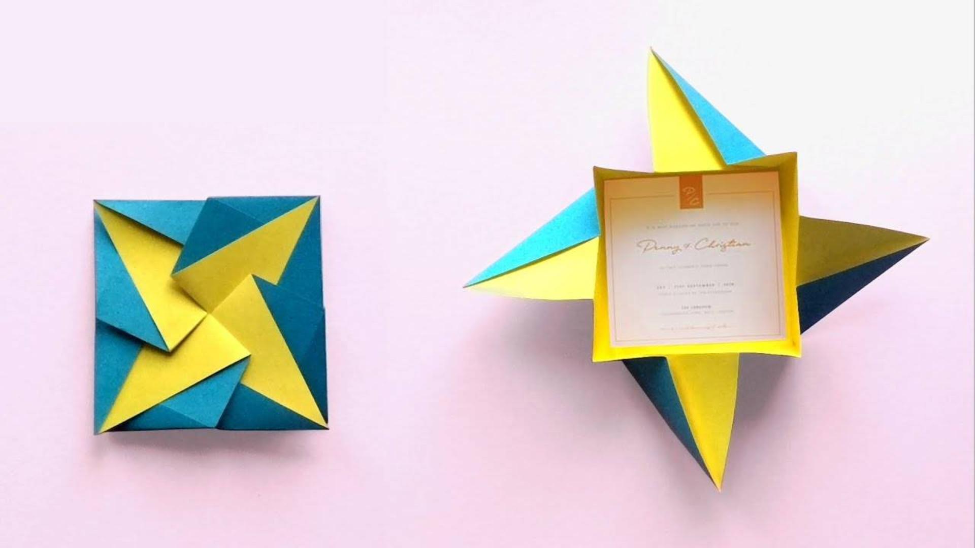 简单折纸一次性纸盒,原本是一张纸,打开就会变成纸盒,很实用!