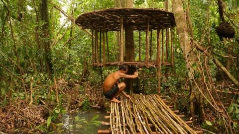 【野外生存系列】6-在亚马逊丛林里建造了一座水上树屋