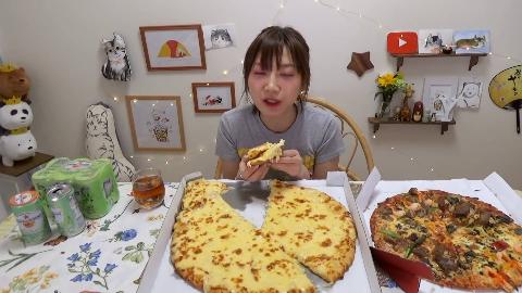 【木下大胃王】1公斤的芝士!40cm虾加肉绝佳披萨