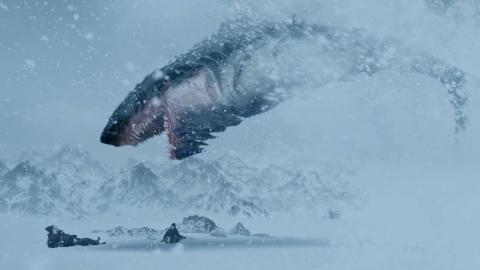 冒险怪兽电影:科学家雪域探险遇上巨型鲨鱼,在雪地穿行犹如海洋