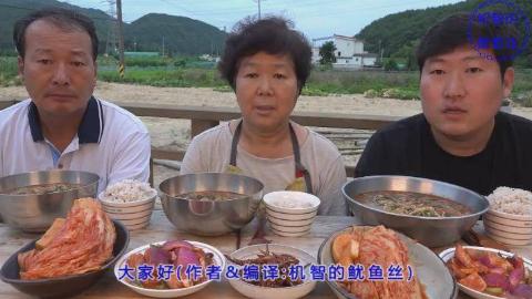 中文字幕:韩国兴森一家人,吃蔬菜鸡汤泡饭,配泡菜,儿子最能吃