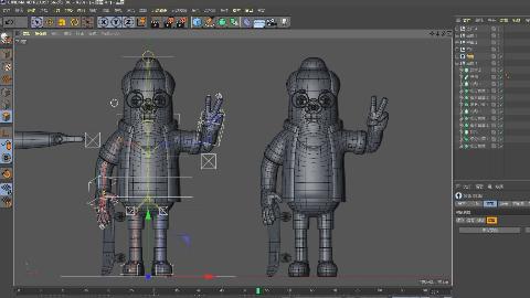 C4D卡通人物建模-骨骼绑定-权重调节