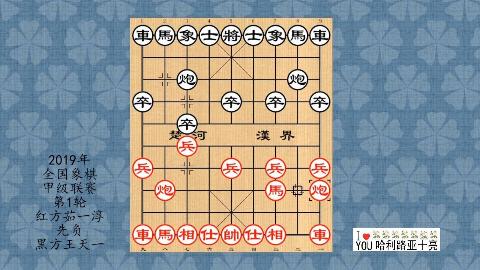 2019年全国象棋甲级联赛第1轮,茹一淳先负王天一