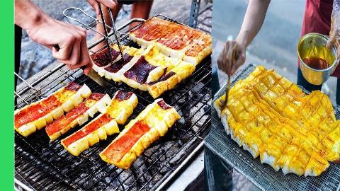 【越南街头小吃】- 巨型烤鱿鱼和沙拉