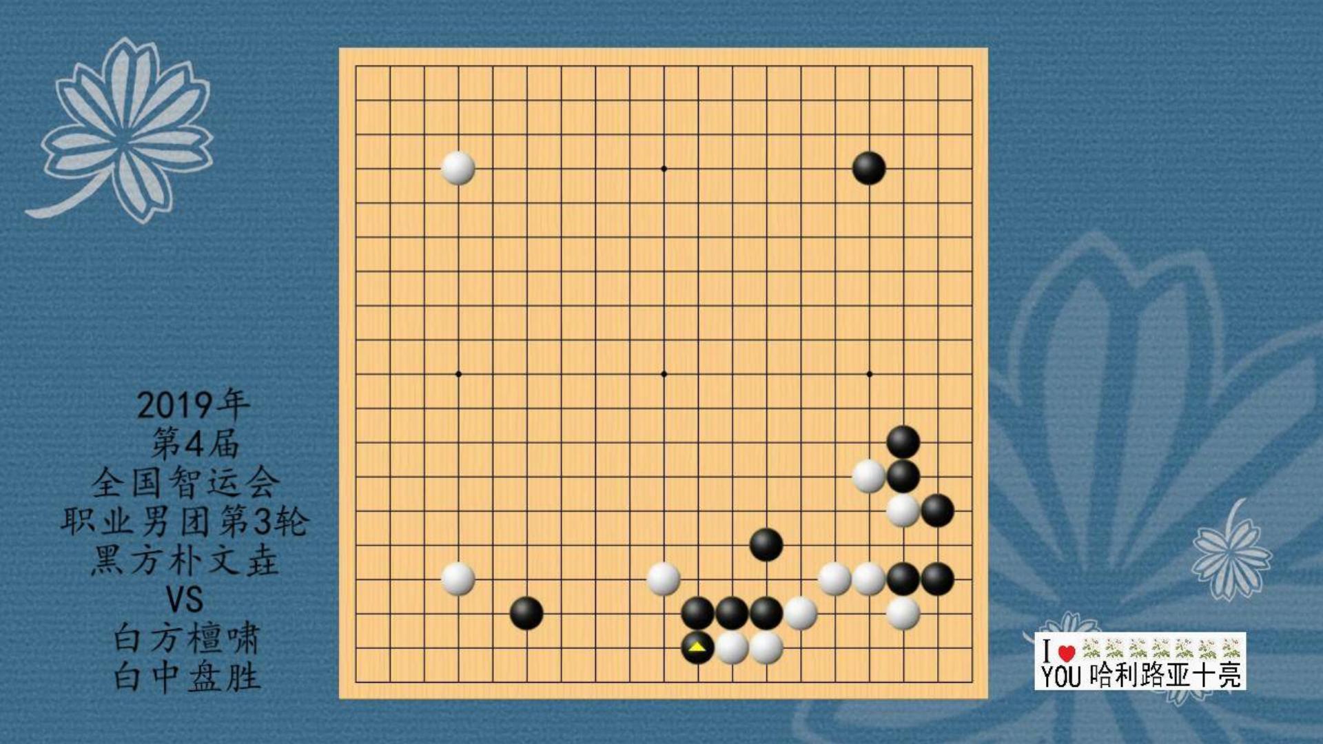 2019年第4届全国智运会围棋职业男团3轮,朴文垚VS檀啸,白中盘胜