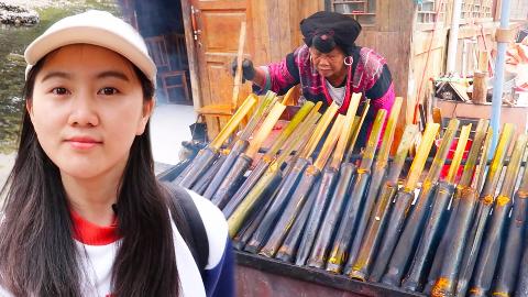 在广西吃50cm长的竹筒饭,一筒就吃饱!还看了长发村,10万亩梯田