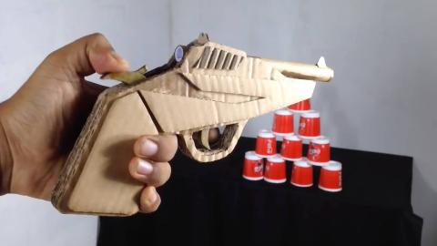 【手工DIY】用纸板做一把简单的小手枪(图纸看简介)