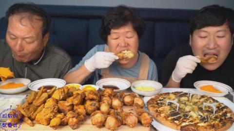 中字:韩国兴森一家人,吃烤鸡、薯条、披萨,配上酱,吃的美滋滋