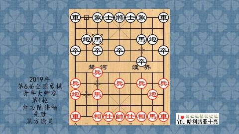 2019年第6届全国象棋青年大师赛第1轮,陆伟韬先胜徐昊