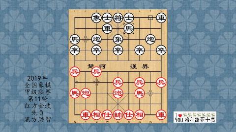 2019年象棋甲级联赛第11轮,金波先负洪智