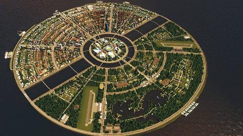 在都市天际线里造一个宝可梦球型的环形岛