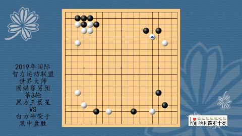 2019年国际智力运动联盟世界大师围棋赛第3轮,王晨星VS牛荣子,黑中盘胜