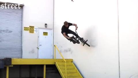 有楼梯不下,非得从墙上走,这就是BMX车手的脾气
