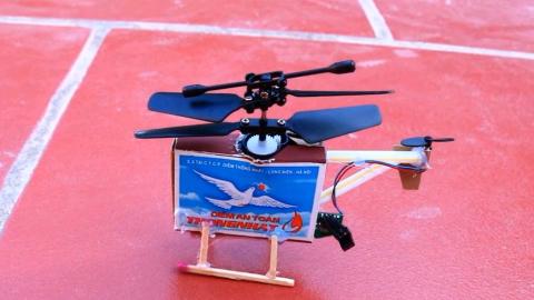 火柴盒DIY打手工直升机全过程,太棒了