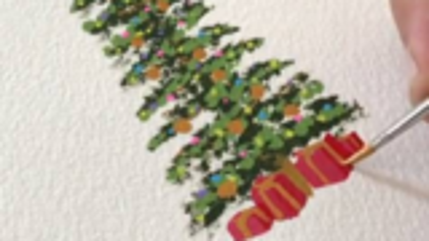 超简单圣诞树水彩画教程