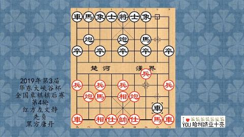 2019年第3届全国象棋棋后赛第4轮,左文静先负唐丹