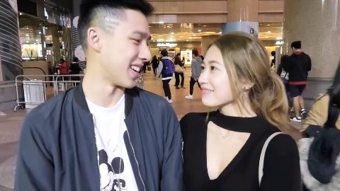 街头采访型男美女情侣,女生很害羞瞬间脸红了!(香港时代广场)