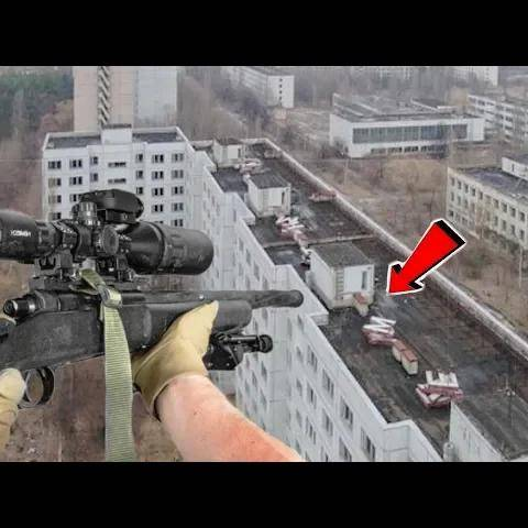 rooftop airsoft sniper at post apocalyptic field