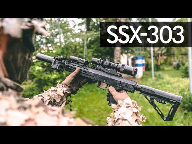 ssx-303. silent semi-automatic sniper rifle.