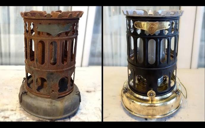 翻新修复————油管一小哥将锈迹斑斑的煤油野营炉再次重新打磨抛光