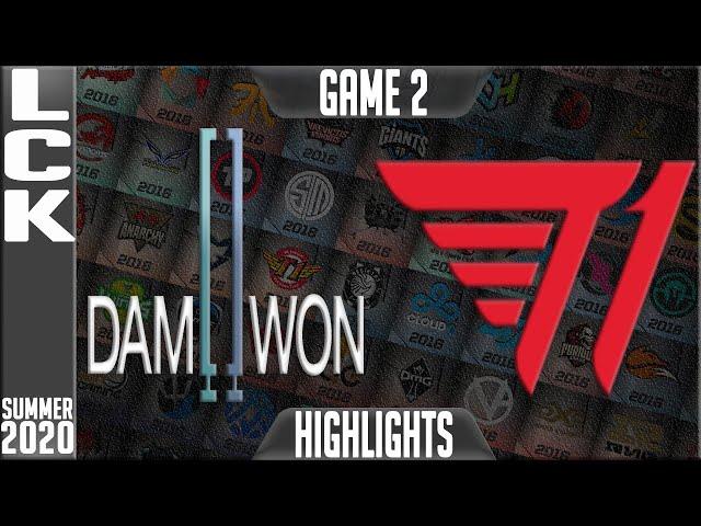 dwg vs t1 highlights game 2 | lck summer 2020 w10d1 | damwon gaming vs t