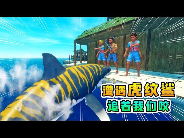 raft 木筏求生联机222: 路遇虎纹鲨,它们追着我们咬