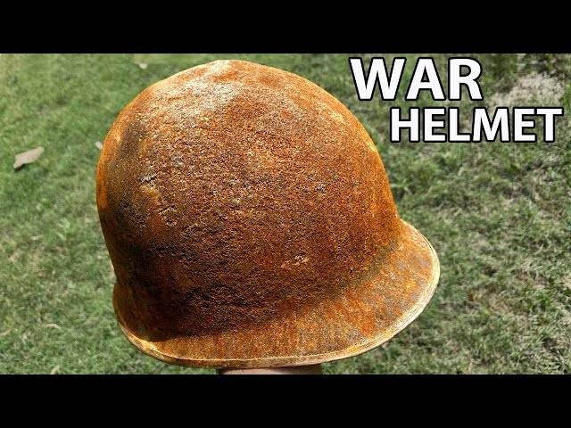 old rusted war helmet - hydro dip restoration