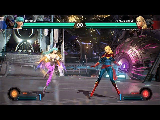 morrigan & zero vs captain marvel & rocket raccoon (hardest ai) - marvel vs capcom: infinite