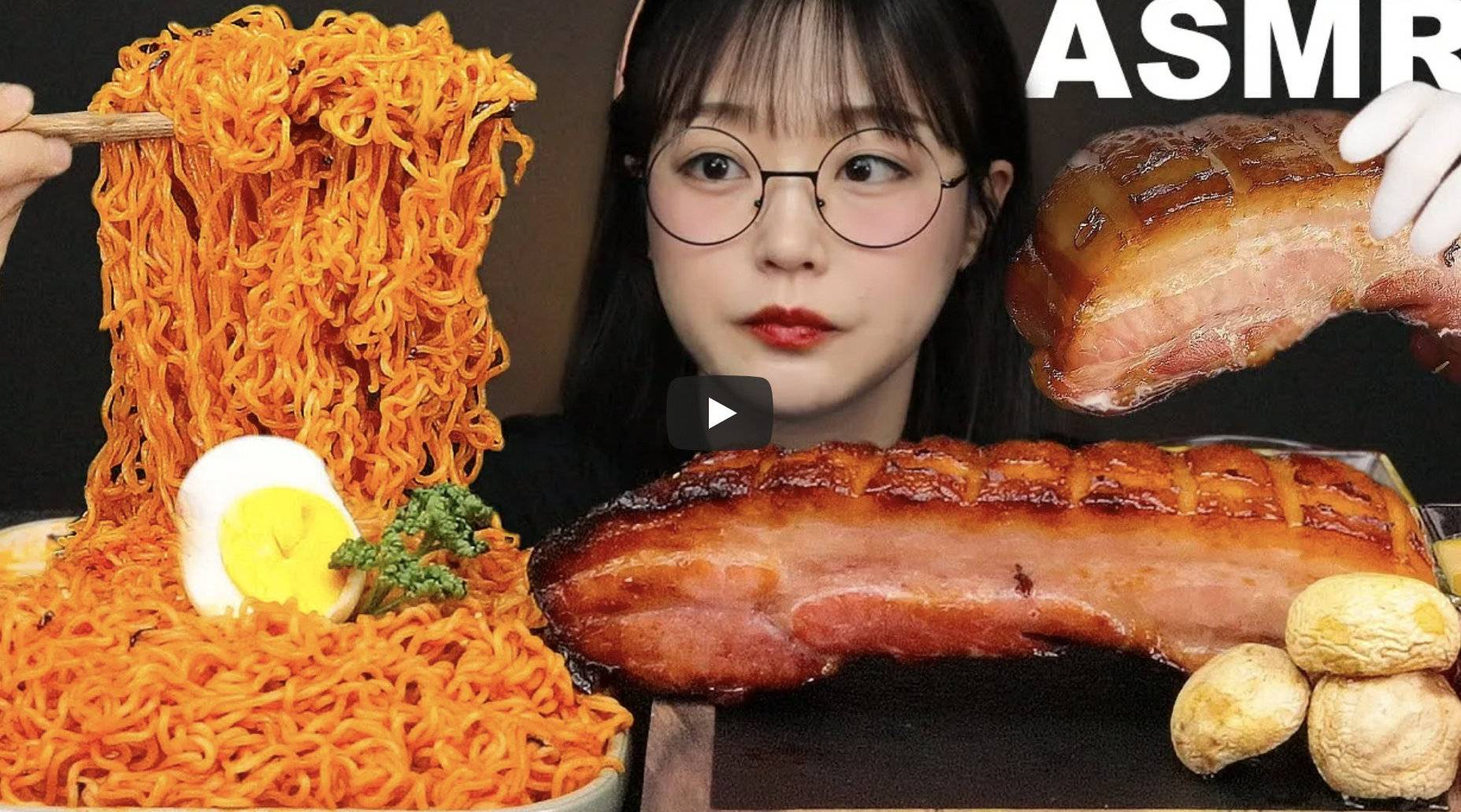 吃播Aejeong: 烤整块五花肉&辣味拌面~