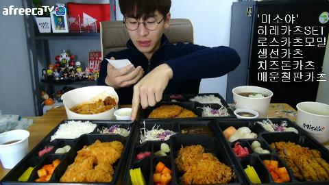 【韩国吃播】BJ奔驰 味笑屋:炸猪里脊+日式猪排+炸鱼排+芝士炸猪排+铁板辣猪排[151010]