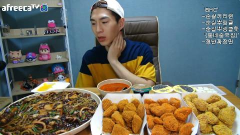 【韩国吃播】BJ奔驰 BHC无骨炸鸡×3+盘子炸酱面[160825]