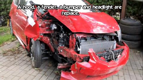 老外带你学修车之正面碰撞本田飞度钣金修复