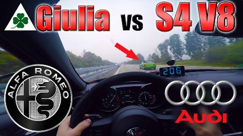 【德国高速】阿尔法罗密欧Giulia QuadrifoglioVS奥迪S4 V8 @Sofronio