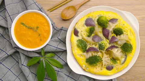 蔬菜抱蛋煎饺配南瓜浓汤 太阳猫早餐