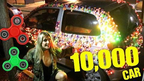 有趣社会实验,1万个指尖陀螺贴在车上,人们的反应