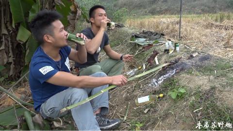 【木易苏野趣】制作竹筒捕鼠器,捕到猎物烤来吃,再喝点小酒,这日子美滋滋
