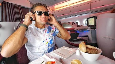 【soso字幕】Casey 卡塔尔航空 A350 公务舱评测——超棒! @Sofronio ##