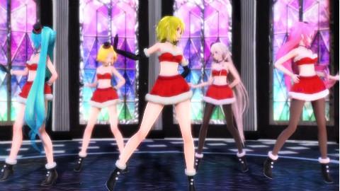 【营养消耗系列MMD】ルカミクグミIAリン Black Out 初音全家福(圣诞装)
