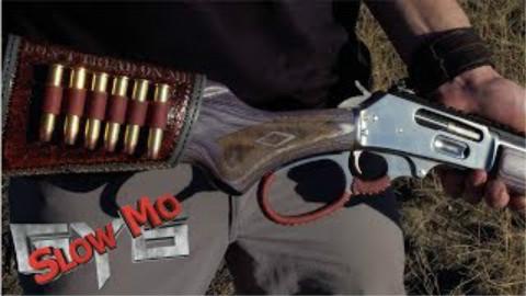 [GY6 Slow Mo]慢镜头看45/70杠杆步枪近距离打在凝胶假人上什么效果