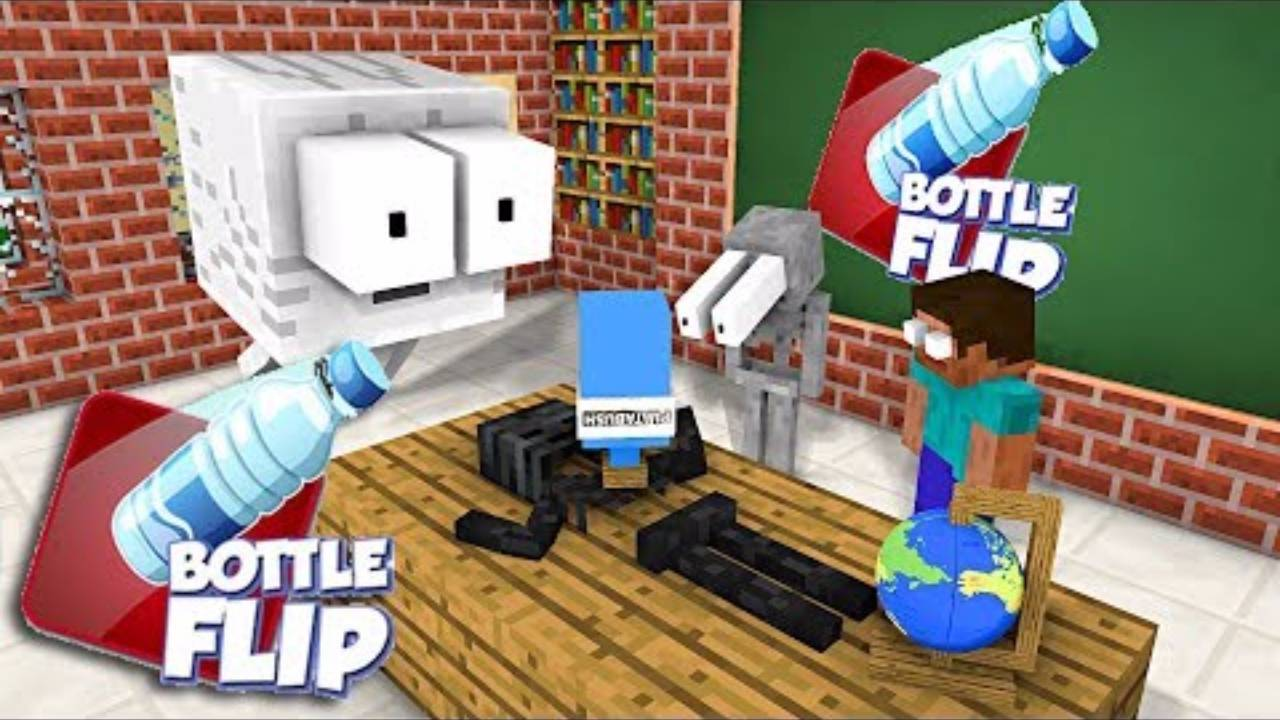 我的世界:怪物学院版我的世界超搞笑扔水瓶比赛