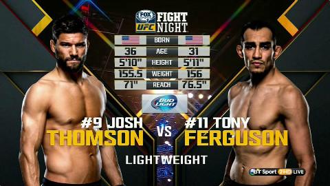 UFC:乔什-汤姆森 VS 夜魔 托尼-弗格森