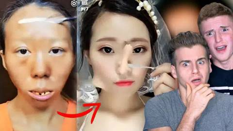 美国小哥被中国美女化妆吓暴走第一弹,整容级别的化妆术吓傻你