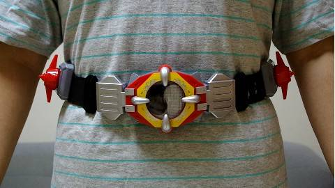 绝版第一代腰带奥迪双钻铠甲勇士超级炎龙能量腰带真人演示TONY晓小动漫模玩