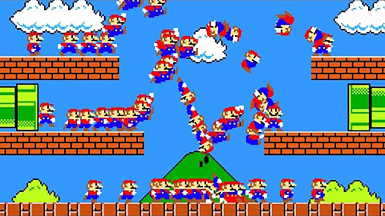 超级玛丽超搞笑动画,当100个马里奥同时闯关,公主:不要!