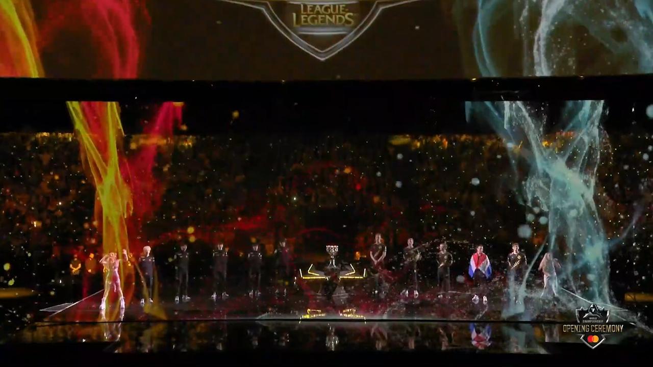 英雄联盟:S9世界赛决赛现场激情开场!现场燃炸了!
