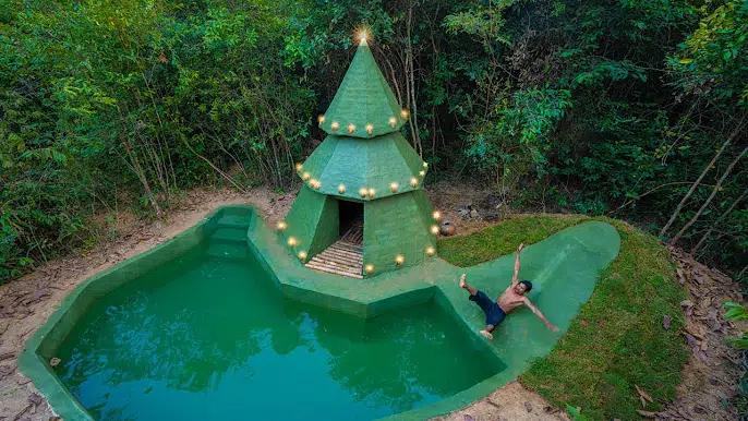 丛林生存者用绿色游泳池建造绿树屋