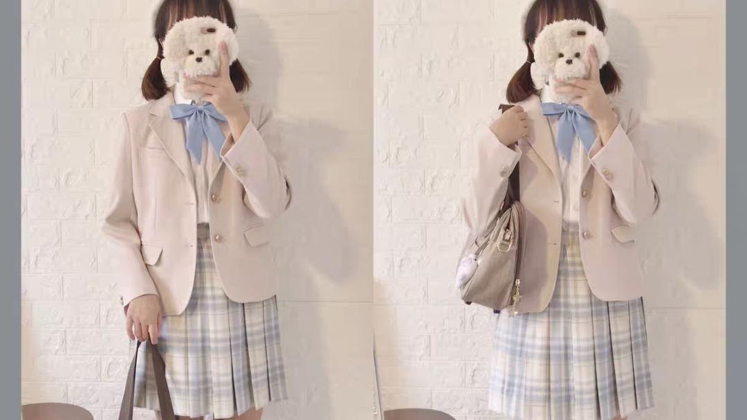 【喵叽-jk制服格裙开箱】西式格裙柠檬海盐领结夏日与风铃