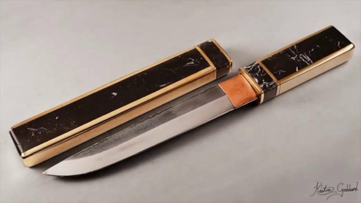 用废旧弹簧钢打造一把日式短刀