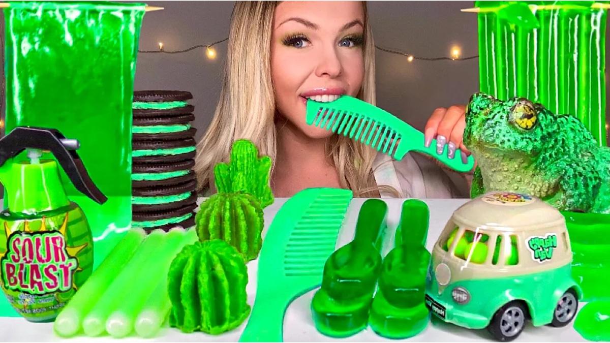 【糖果吃播】绿色糖果,催眠解压。