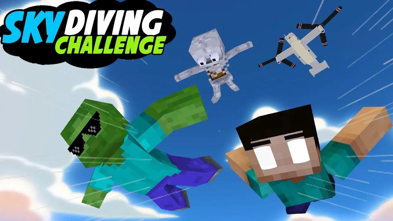 我的世界:另类搞笑版怪物学院,最难的跳伞挑战赛